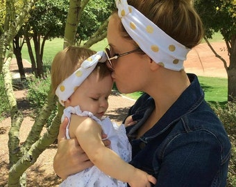 Mommy and Me Set of 2- Gold Dots Knot Headband, Baby Knot Headwrap, Baby Turban, Baby Headband, Knotted Headband