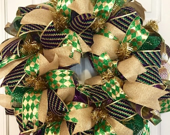 Simple Mardi Gras Wreath, Mardi Gras Deco Mesh Wreath, Simple Carnival Wreath