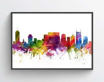 Nashville Skyline Poster, Nashville Print, Nashville Decor, Nashville  Art, Home Decor, Gift Idea, USTNNA06P