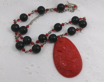 Vintage Carved Celluloid Necklace with Large Chicken Pendant - 1920s - 1940s