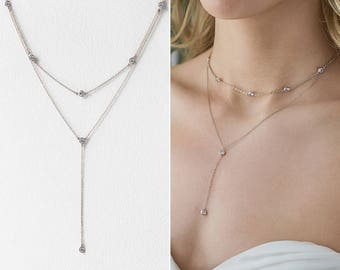 Silver Lariat Necklace, Layered Necklace, Bridal Necklace, Wedding Jewelry, Wedding Accessories, Silver Bridal Necklace,Choker Lariat,N061-S