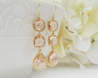 Peach Champagne / Blush Wedding Earrings / Champagne Bridesmaid Earrings / Gold Earrings / Bridesmaid Gift / Peach Dangle Earrings / Gift