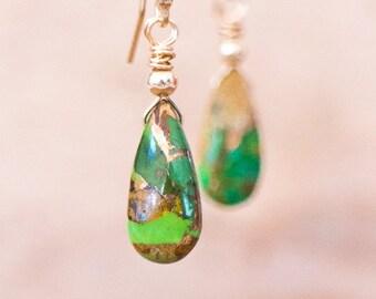 Green Copper Turquoise Earrings, Gemstone Earrings, Mojave Turquoise Jewelry, Green Drop Earrings, Dangle Earrings, December Birthstone
