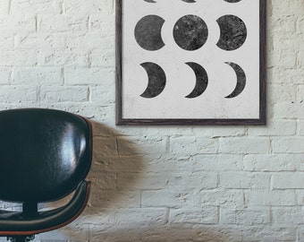Moon Phases, Abstract Art Print, Geometric Art Print, Modern Art Print, Minimalist, Scandinavian Art Print, Loft, 5x7 8x10 11x14 Print, D008