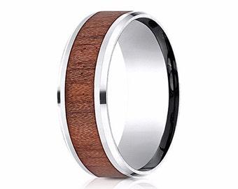 Wood Inlay Wedding Band, Mens Wood Wedding Ring, Mens Wood Wedding Band, Wood Inlay Rings, male wedding bands, male wedding rings-wood inlay