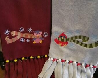 Fleece scarf with beaded fringe