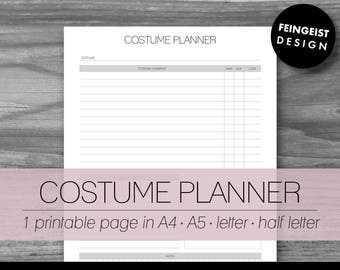 COSTUME PLANNER. Printable Pages/Planner Inserts. 4 Sizes. Instant Download. Letter - Half Letter - A4 - A5