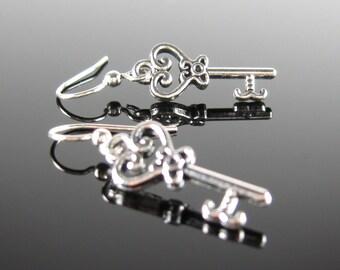 Surgical steel earrings, stainless steel, nickel free, small skeleton key earrings, silver drop earrings, dangle earrings, key earrings