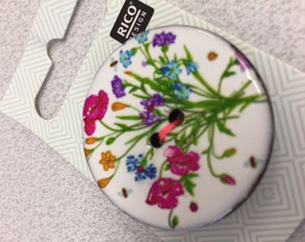Flower button beautiful design in vibrant colours of greens pink yellow purple and cornflower blue 4 cm resin surface on coconut shell