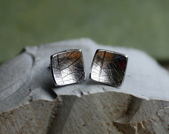 Silver Leaf Post Earrings- Organic Silver, Silver Studs, Square Posts