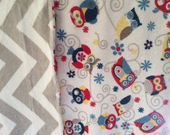Minky Baby Blanket Owls