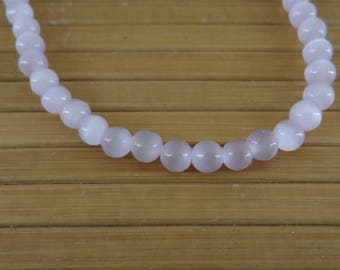 60 round 6 mm color pvc103 pink cat's eye glass beads