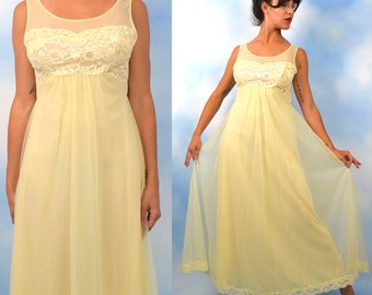 Vintage 50s 60s Butter Yellow Floor Length Nightgown (size medium, large)
