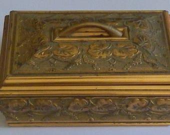 Pretty Gold Leaf Embellished Lidded Box!