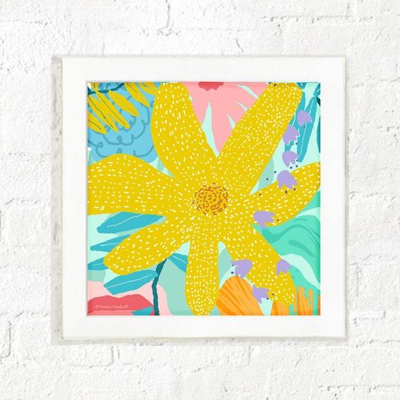 Abstract yellow flower print, girl's nursery wall art, abstract floral print, kid's wall art, art prints for kids, pastel, girl's wall art