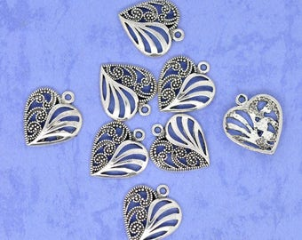 Pack of 10 Antique Silver Heart Charms  (2060)