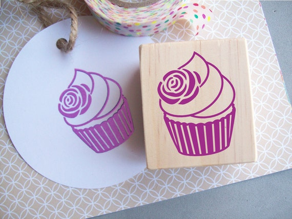 Cupcake Stamp with Rose, Birthday Parties, Tea Parties