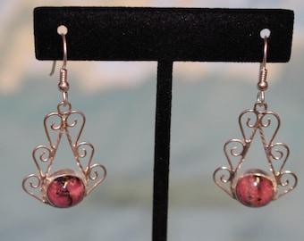 Rhodonite Filigree Sterling Silver Earrings