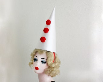 Classic Clown Hat - Red and White Circus Costume - Halloween Costume - Cirque Costume - Retro Circus - Vintage Clown Hat