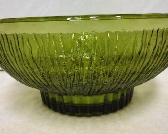 1975 vintage FTD green glass bowl  from floral arrangement