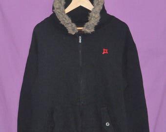 Vintage Freshjive Streetwear Fur Hoodie Sweatshirt Sweater Black Large Size