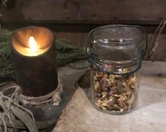 Primitive Old Glass Jar Dried Pumpkin Cupboard Tuck Early Look Homestead Glass Top Canning Jar