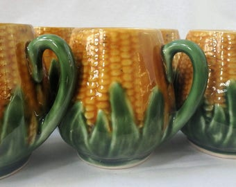 5 RARE Corn Cups w husk detail, Portuguese Pottery, Majolica 1940s Corn on the cob mugs, hand painted ceramics from Portugal, rare pottery
