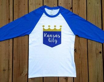 Kansas City Royals Glitter Raglan Baseball Tee, Royals Mother's Day Gift, Royals Birthday Gift, KC Royals, KC Royals Sparkle, Royals Shirt