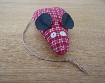 Catnip Mouse/ Mice Cat Toy Red Checked Print Handmade