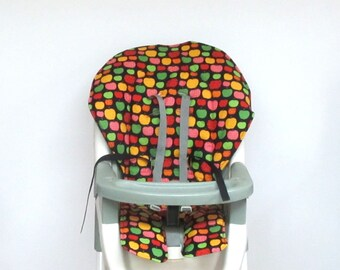 Graco apples high chair cover, baby accessory, cotton replacement baby and kids furniture, child chair pad, chair cushion, apples on black