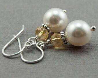 November Birthstone Earrings, Citrine Gemstone and White Swarovski Pearl Earrings. Sterling Silver. Pearl Dangle November Birthday Gift Her