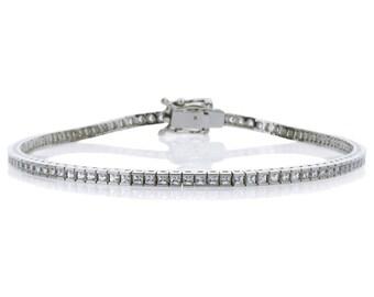1.5mm Rhodium Plated Silver 3.27 ct CZ Channel Set Tennis Bracelet 7.25in(CSB006SQ15-WG)
