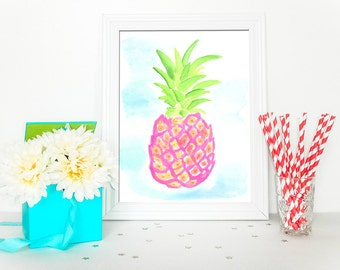 Preppy Pineapple - Original Watercolor - Home Decor - Lilly Pulitzer Inspired Printable