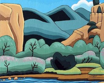 Landscape Painting - 20x16 Acrylic Original Wall Art on Canvas - Mountain Canyon Abstract Colorado Art by Karen Watkins - Drift