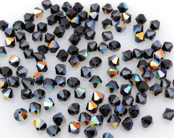 SWAROVSKI®  5301/5328 5MM Jet Aurora Borealis Bicone Beads, 100pcs. Jet AB 5mm Black Iridescent Beads **Six Cents Per Bead!**