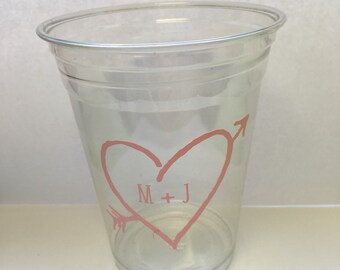 Rustic Heart Personalized 16oz plastic disposable cups