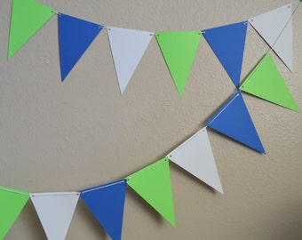 Lime Green, Blue and White Banner Bunting, Flags, Garland, Party Decoration