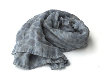 light blue polka dot  linen scarf - long lightweight wrap shawl