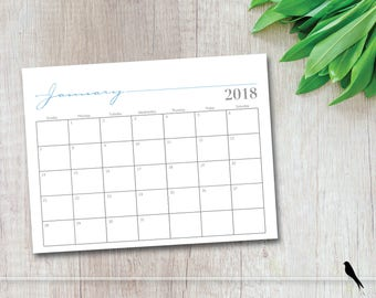 2018 Printable Monthly Wall Calendar - Whimsical Home, Office, Classroom Wall Calendar - 12 Month Calendar Command Center - Instant Download