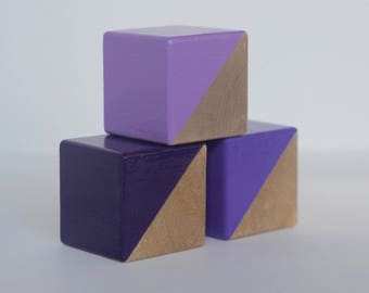 3 Purple Painted Wooden Blocks