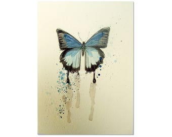 Blue Butterfly Blank Note Card, Modern Insect Printed Note Card, Blue Watercolor Nature Art Card