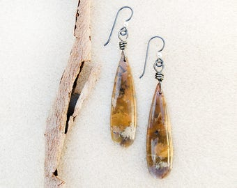 Earrings, Amethyst Sage, Chalcedony, Natural, Matching Stones, Niobium Ear Wires, Hypoallergenic, Silver, Gray, Tan, Handmade, Gift for Her