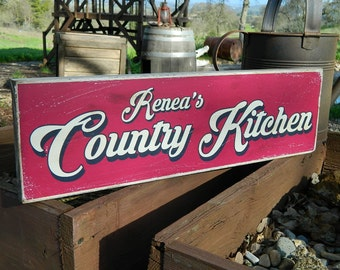 """Distressed Primitive Country Wood Sign - Your Name Country Kitchen 5.5"""" x 19"""""""