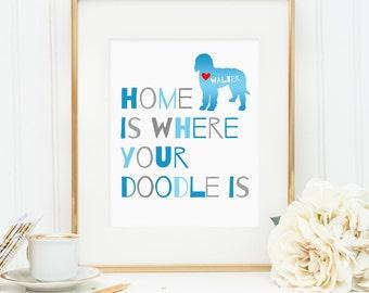 Goldendoodle art, Labradoodle dog print, personalized dog art print for your doodle, Golden doodle dog wall art, gift for dog owners