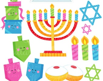 Happy Hanukkah Cute Digital Clipart - Commercial Use OK - Hanukkah Graphics, Hanukkah Digital Art, Dreidel Clipart