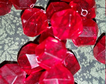 Clearance - Blood Red Multifaceted Acrylic Geometric Beads - 12 mm