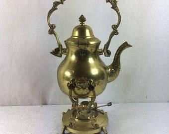 Vintage Brass Teapot On A Stand Teapot Warmer Beautiful Ornate Teapot Tea Kettle On STand Coffee Pot Coffee Kettle On Stand