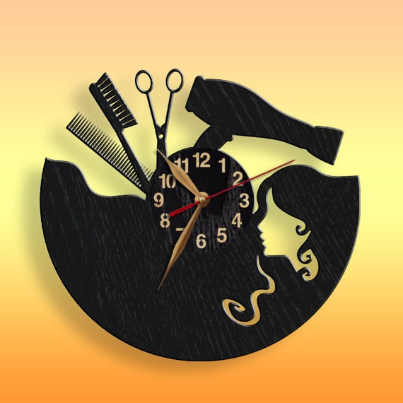 Clock Beauty Salon Hair styler BIG Wood Non-ticking Wall Art