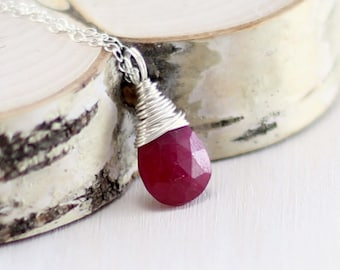 Genuine Ruby Necklace, Sterling Silver Raspberry Red Ruby Pendant July Birthstone Wire Wrapped Necklace