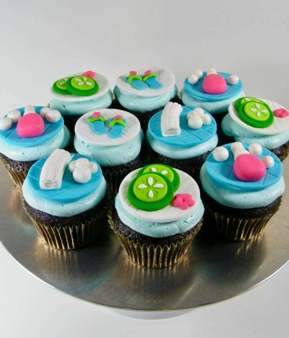 Fondant Spa Theme Cupcake Toppers Spa Theme Party Girls Slumber